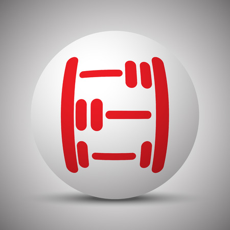 abacus: Red Abacus icon on white sphere