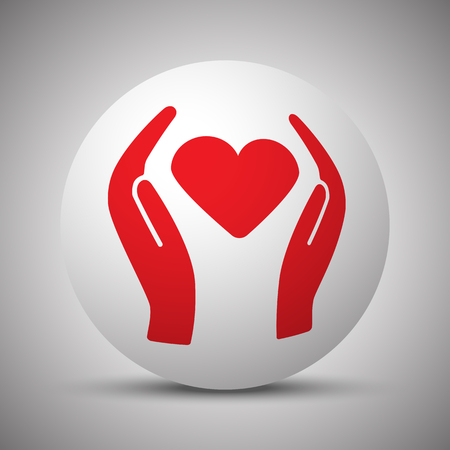 Red Heart care icon on white sphere