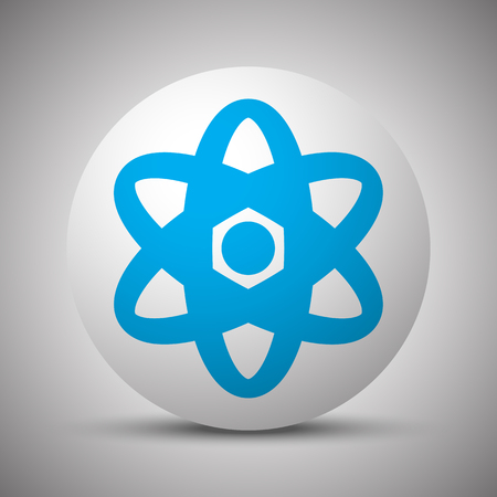 fission: Blue Nuclear icon on white sphere Illustration