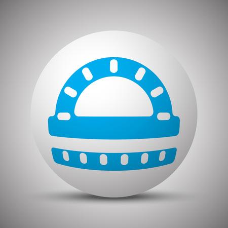 Blue Protractor Ruler icon on white sphere Illustration