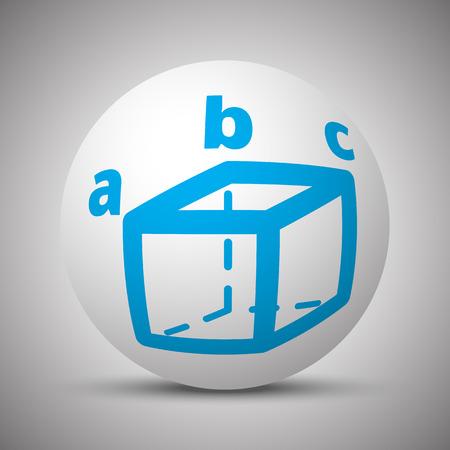 Blue Trigonometry icon on white sphere