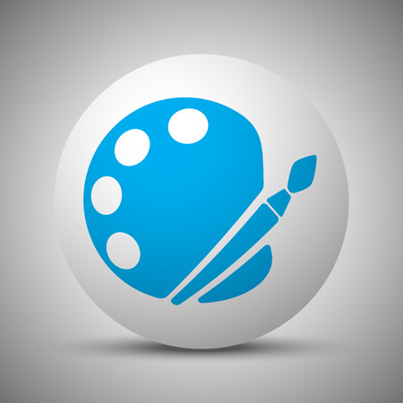 Blue Palette icon on white sphere
