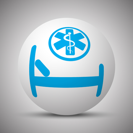 Blue Hospital Bed icon on white sphere Иллюстрация