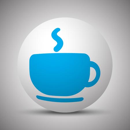 Blue Coffee icon on white sphere