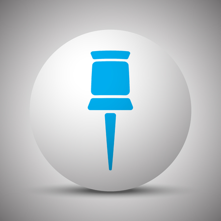 Blue Pushpin icon on white sphere Иллюстрация