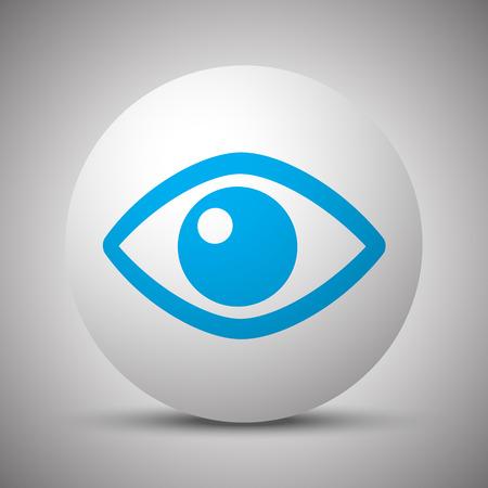 Blue Eye icon on white sphere 向量圖像