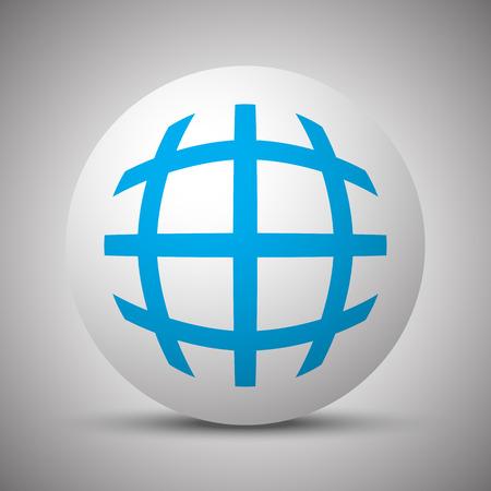 Blue Globe icon on white sphere 向量圖像