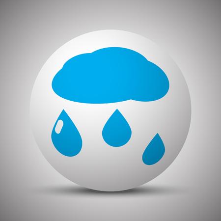 Blue Rain icon on white sphere
