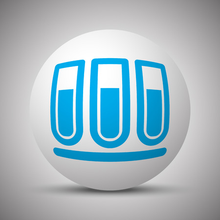 Blue Test Tube icon on white sphere