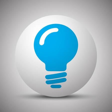Blue Light Bulb icon on white sphere