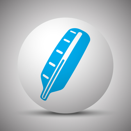 Blue Thermometer icon on white sphere