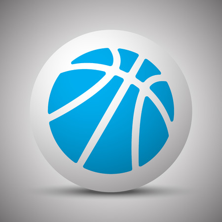 Blue Basketball icon on white sphere