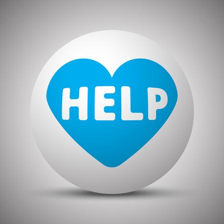 Blue Defibrillator  icon on white sphere