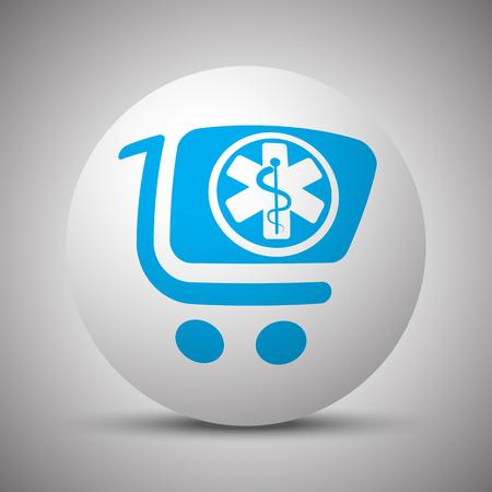Blue Pharmacy Store icon on white sphere