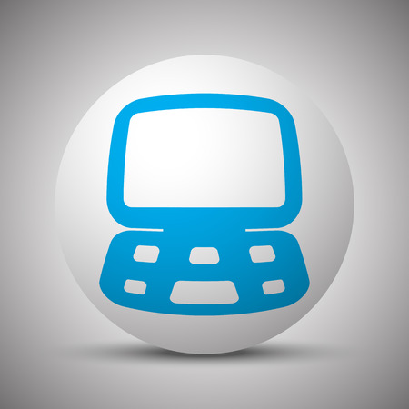 Blue Computer icon on white sphere