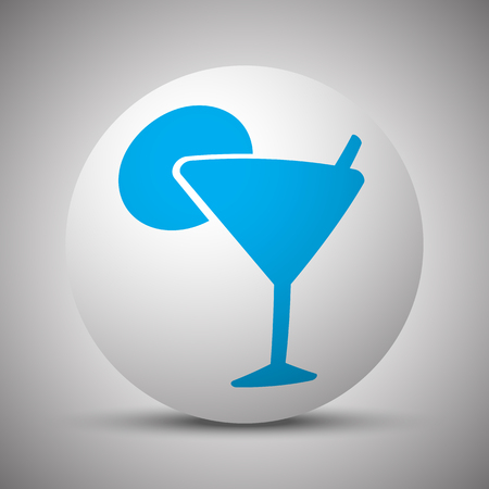 Blue Cocktail icon on white sphere