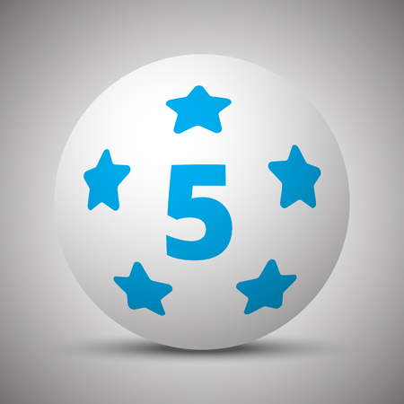 Blue Five Star icon on white sphere