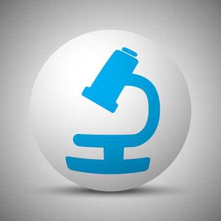 Blue Microscope icon on white sphere