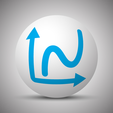 Blue Graph icon on white sphere