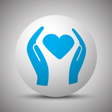 Blue Heart care icon on white sphere