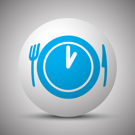Blue Lunch Time icon on white sphere Иллюстрация