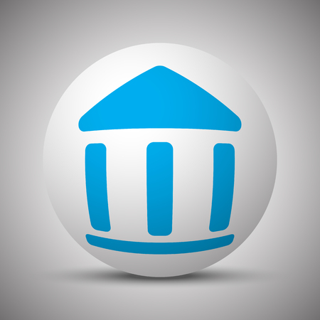 Blue Institution icon on white sphere