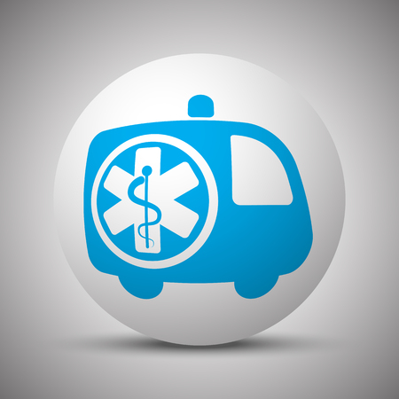 Blue Ambulance icon on white sphere