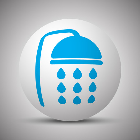 Blue Shower icon on white sphere 向量圖像