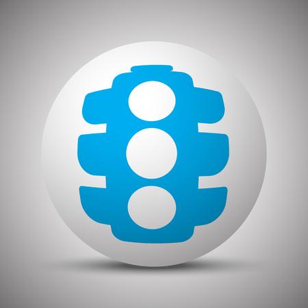 Blue Traffic Light icon on white sphere