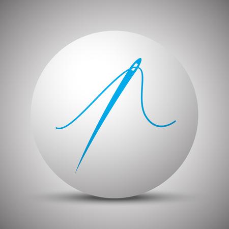 taylor: Blue Needle icon on white sphere Illustration