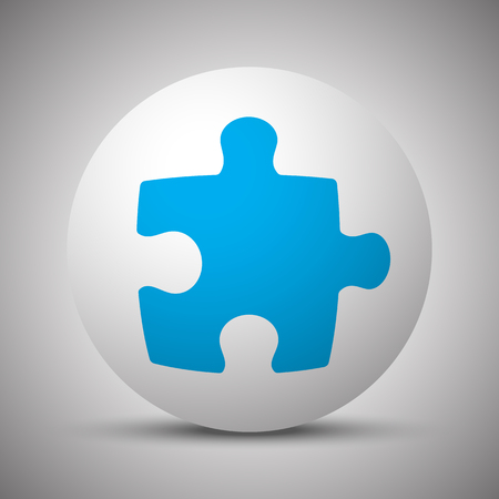 Blue Puzzle icon on white sphere