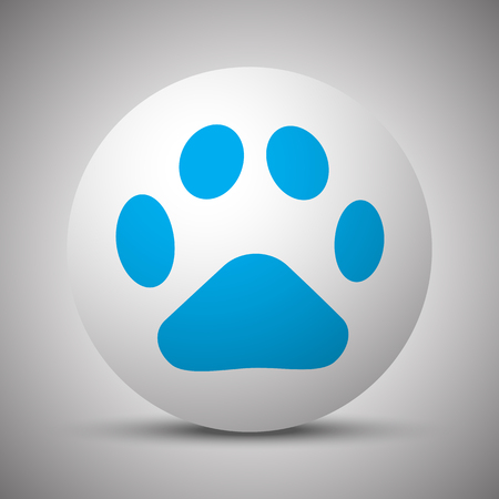 Red Paw Print Icon On White Sphere Royalty Free Cliparts Vectors