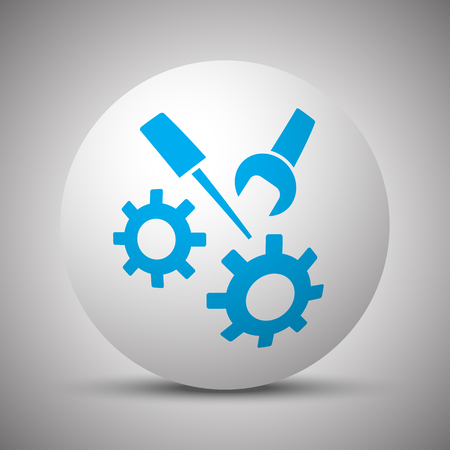 Blue Service icon on white sphere Illustration
