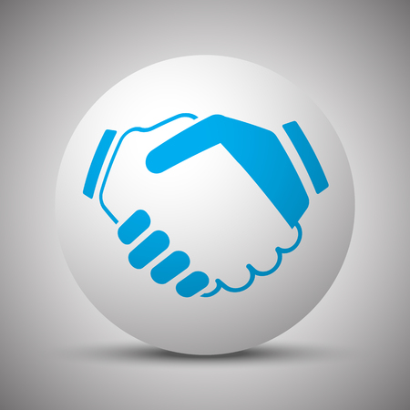 signing: Blue Handshake Agreement icon on white sphere