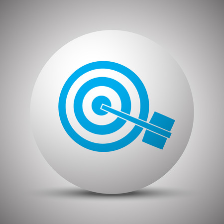 Blue Target icon on white sphere