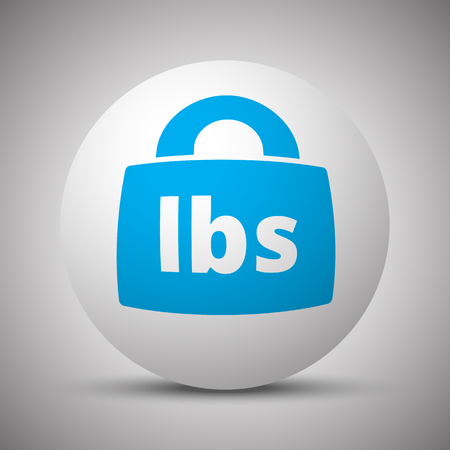 lbs: Blue Weight Pounds icon on white sphere