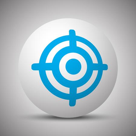 Blue Target icon on white sphere