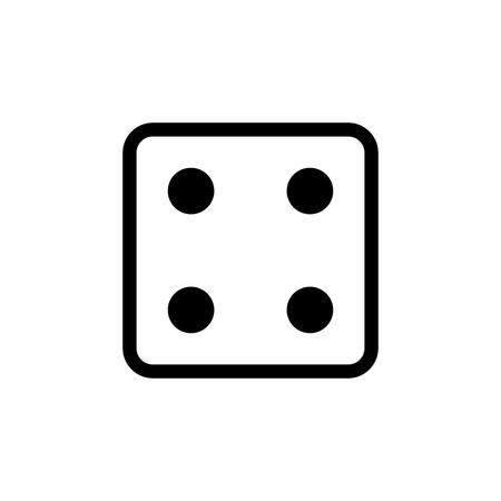 White dice number 4 icon. 일러스트