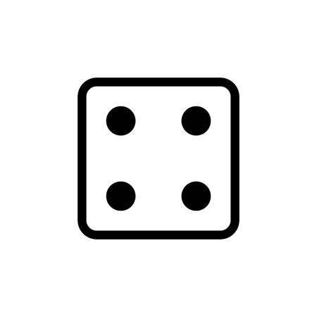 White dice number 4 icon. Illustration