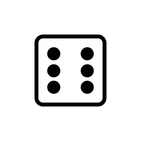 White dice number 6 icon.