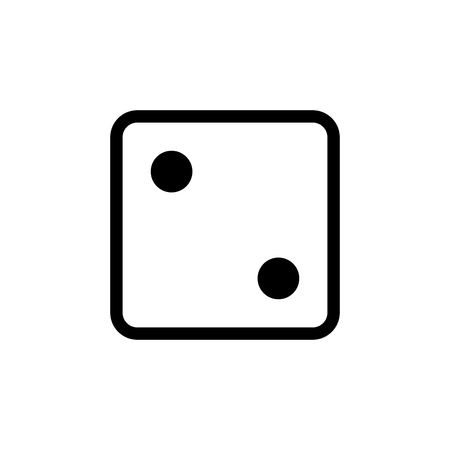 White dice number 2 icon. Illustration