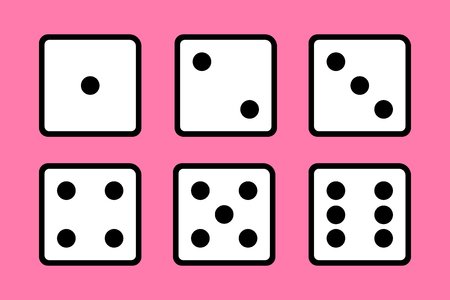 Set of 6 dices on pink background.