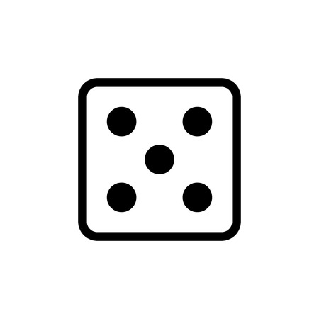White dice number 5 icon.