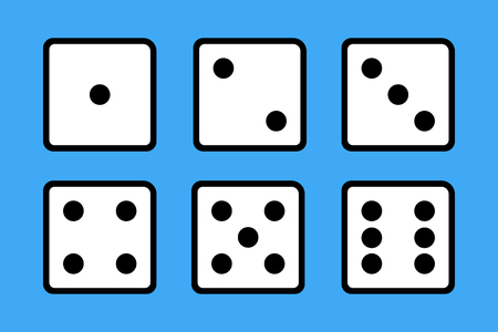 Set of 6 dices on blue background.  イラスト・ベクター素材