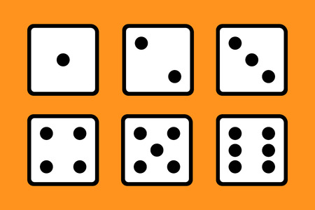Set of 6 dices on orange background.  イラスト・ベクター素材