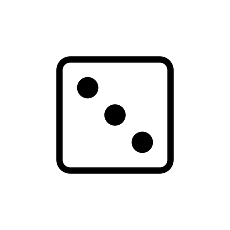 White dice number 3 vector icon.