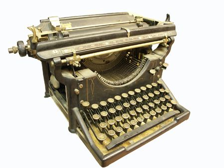 Vintage typewriter, isolated on white
