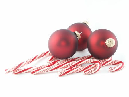 Christmas ornaments and candy canes Imagens