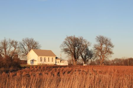 An old church in a field