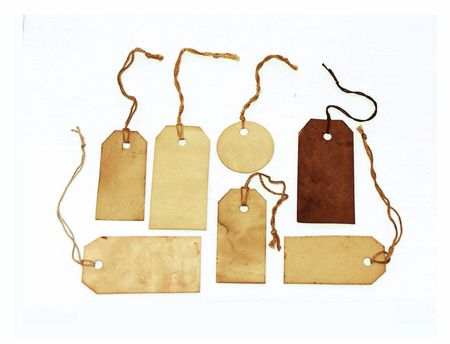 Grungy tags of different shapes Stock Photo
